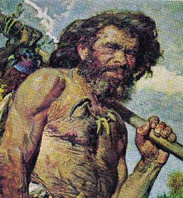 Caveman cartoon illustration carrying meat on stick.