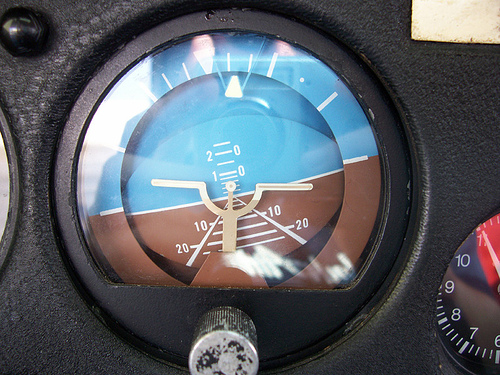 airplane attitude indicator horizon close up photo