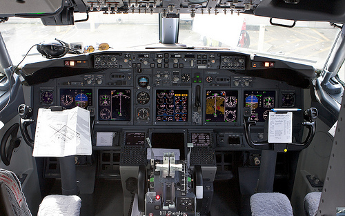airplane cockpit aircraft controls