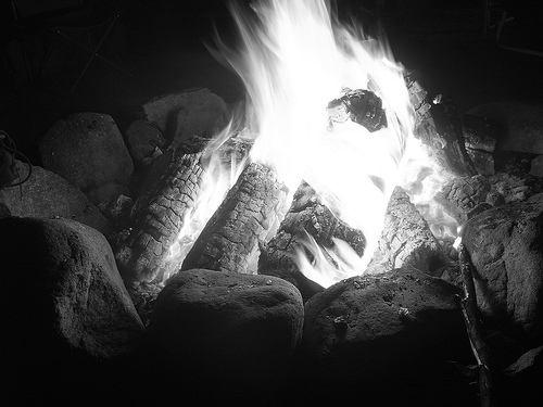 Black and white campfire close up roaring fire.
