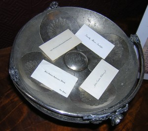 Vintage calling cards in tray.