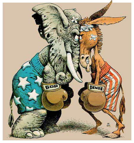 Donkey democrats elephant gop fighting cartoon politics debate.