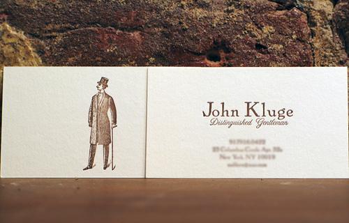 Modern gentleman's calling card John Kluge distinguished gentleman.