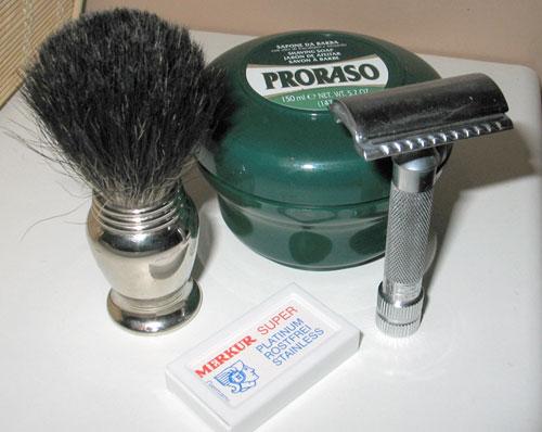 Shaving kit brush safety razor blades.