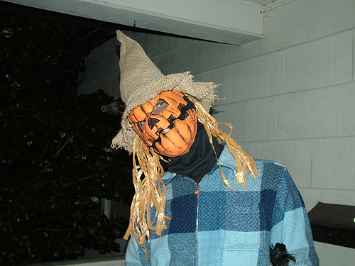 Halloween man dressed up scary scarecrow trick.