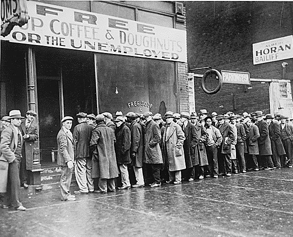 Vintage unemployed crowd in a line for taking free food.