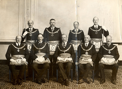 vintage group of freemasons portrait