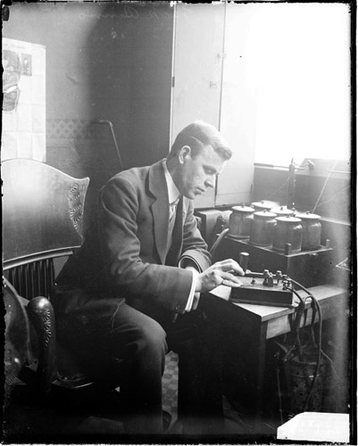 vintage morse code operator early 1900s