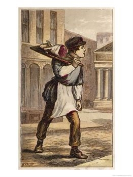 vintage butcher boy delivering meat order illustration late 1800s