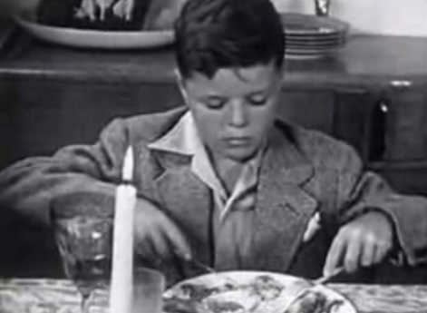 vintage little boy at thanksgiving table 1950s