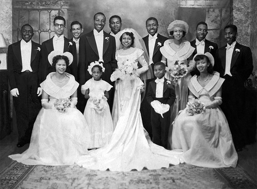 vintage african american wedding party photo 1930s 1940s