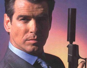 pierce brosnan james bond 007 posing with gun