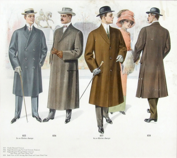 vintage ad for overcoats early 1900s cartoon illustration