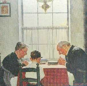 Grandparents and boy eating at table illustration.
