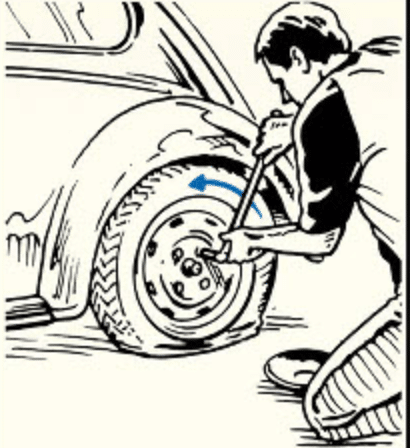 Man changing Flat tire of his car.