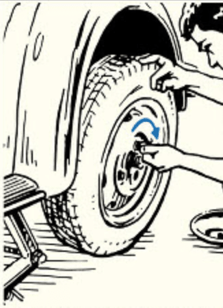Tightening the nuts of car tires.