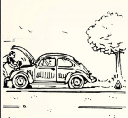 Man checking his car's engine on road.