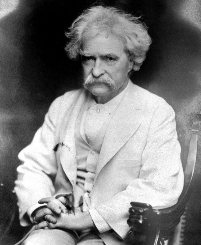 mark twain older white hair mustache
