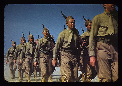 vintage soldiers marching in formation 1950s 1960s