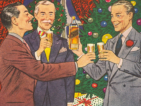 vintage holiday whiskey johnnie walker ad