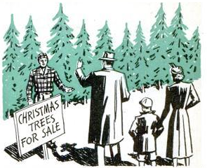 vintage family cutting down christmas tree illustration 1950s