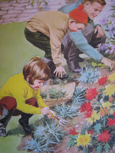 Father and children working in garden illustration.