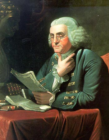 Ben Franklin reading papers at desk illustration.
