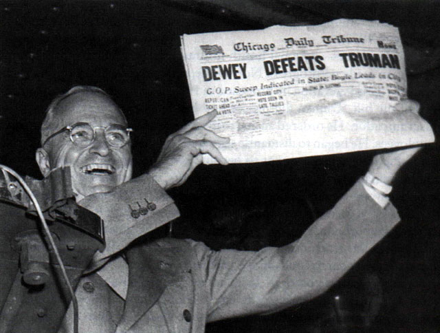 harry truman holding newspaper dewey defeats truman