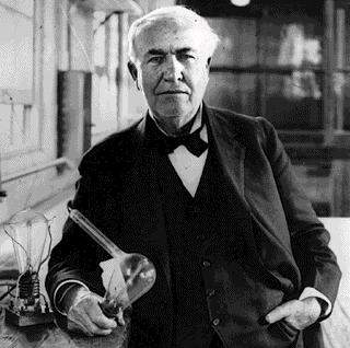thomas edison with light bulb portrait