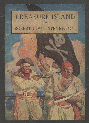 Book cover, treasure island by Robert Louis.