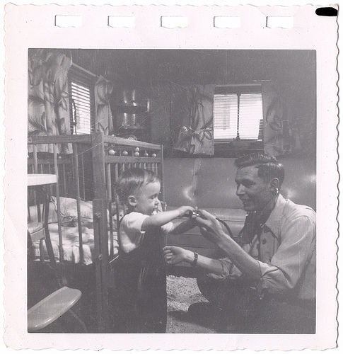 vintage father and son playing doctor 1940s 1950s