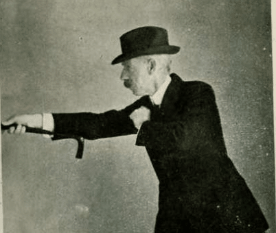 Vintage Bartitsu moves using cane.