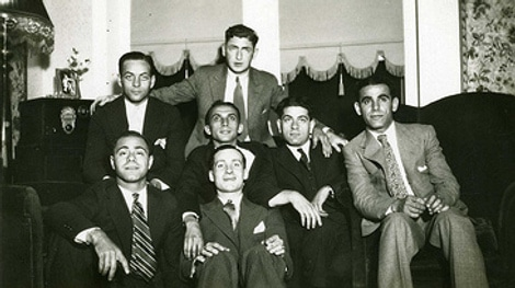 vintage bachelor party men portrait 1940s