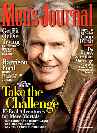 Magazine cover, men journal by Harrison Ford.