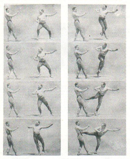 Vintage men performing chase lateral kick illustration.
