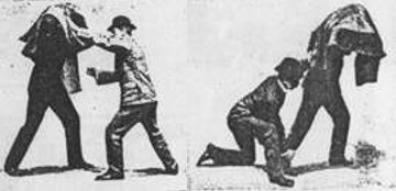 Vintage Bartitsu cloak as defense illustration.
