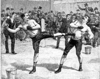 Vintage men fighting in boxing match illustration.