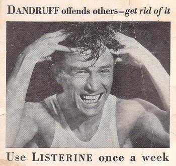 Vintage man in listerine dandruff advertisement.