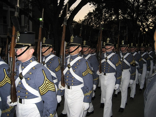 citadel students marching in formation