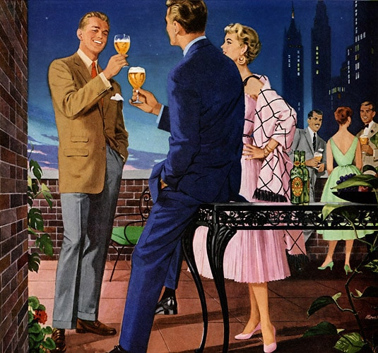 vintage rooftop party illustration drinking 1960s
