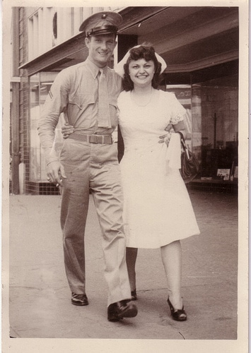 vintage couple military wedding 1930s 1940s
