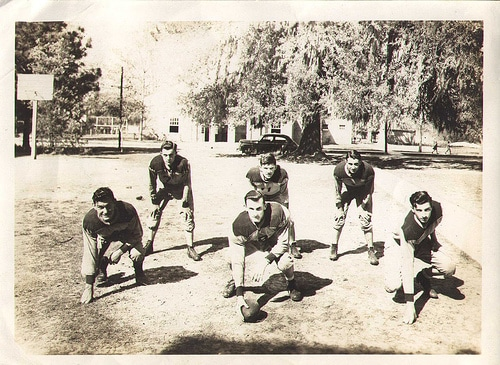 vintage football team drills early 1900s