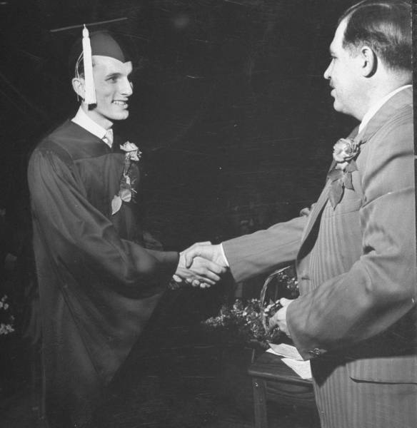 vintage graduation accepting diploma 1940s 1950s