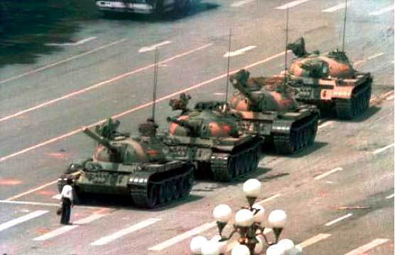 tiananmen square man standing in front of tanks