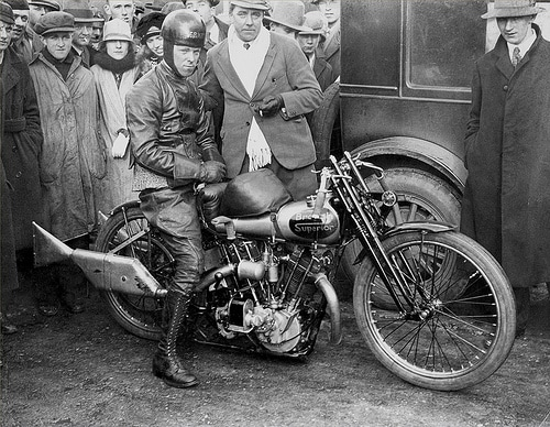 vintage man in leather motorcycle 1920s 1930s