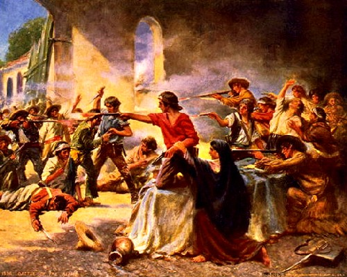 battle of the alamo painting troops firing guns