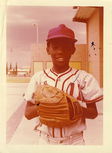 vintage black boy kid in baseball uniform 1960s
