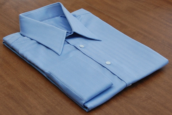 blue herringbone dress shirt folder button-up