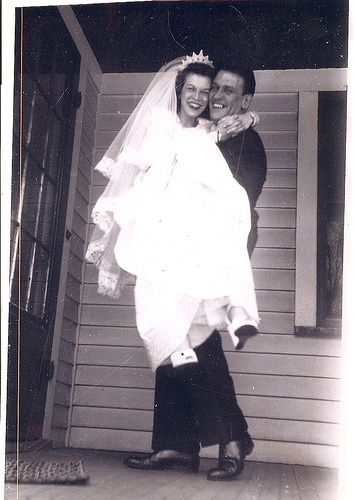 vintage newlyweds couple on porch 1930s 1940s