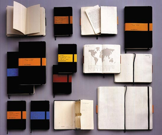 Different kinds of Moleskine notebooks.